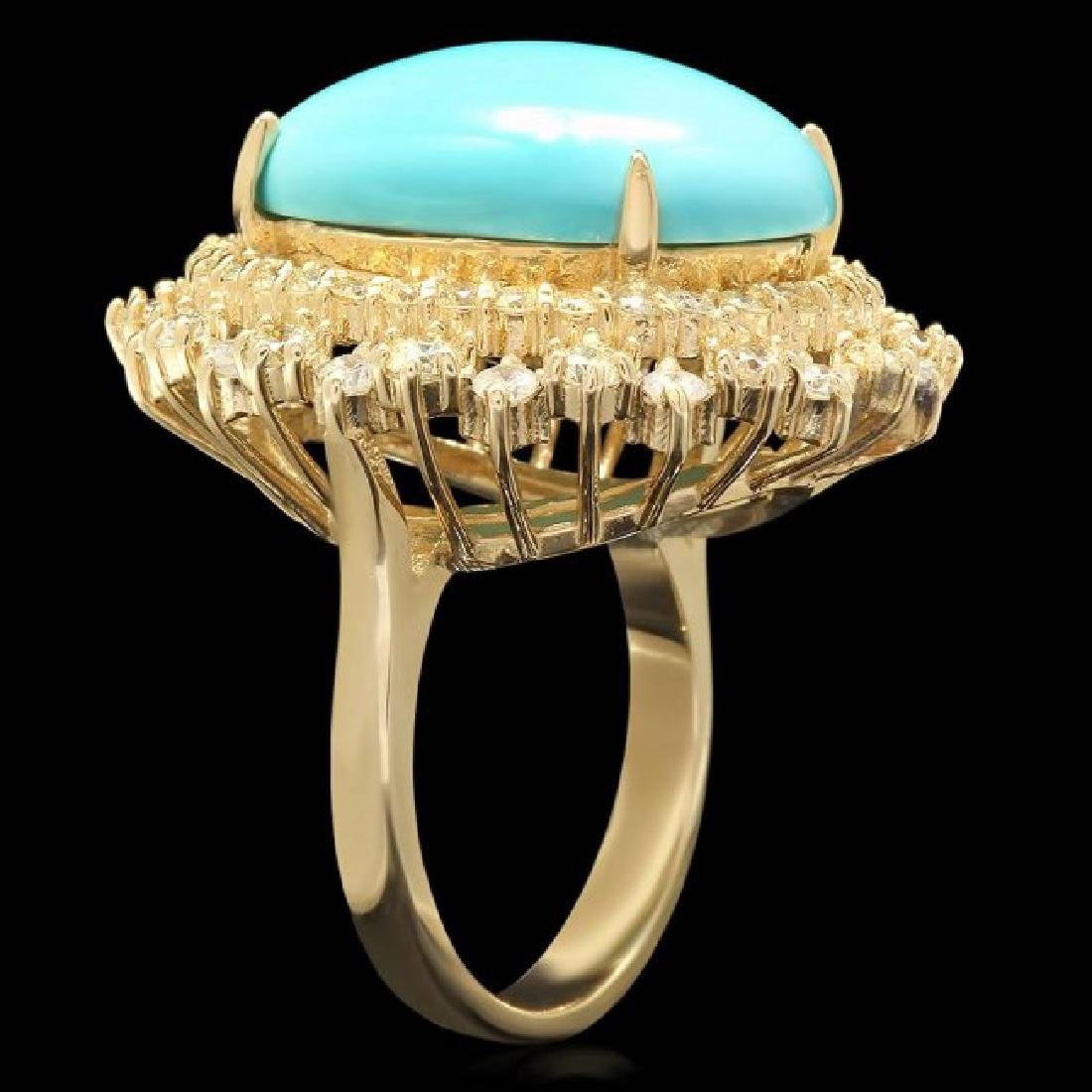 14k Gold 12.00ct Turquoise 2.05ct Diamond Ring - 2