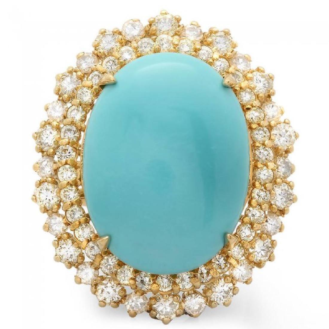 14k Gold 12.00ct Turquoise 2.05ct Diamond Ring - 3