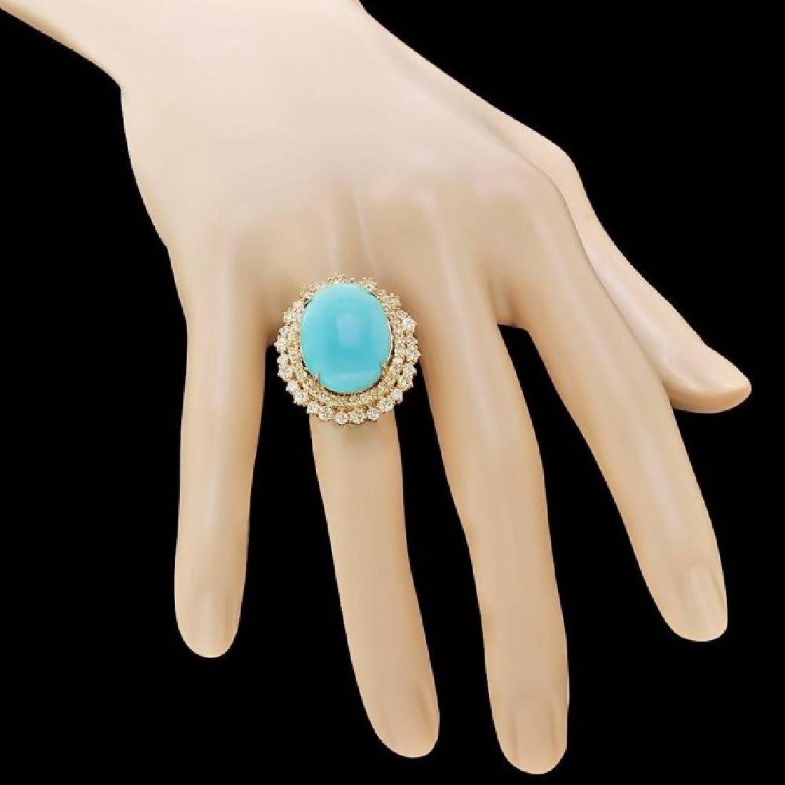 14k Gold 12.00ct Turquoise 2.05ct Diamond Ring - 4