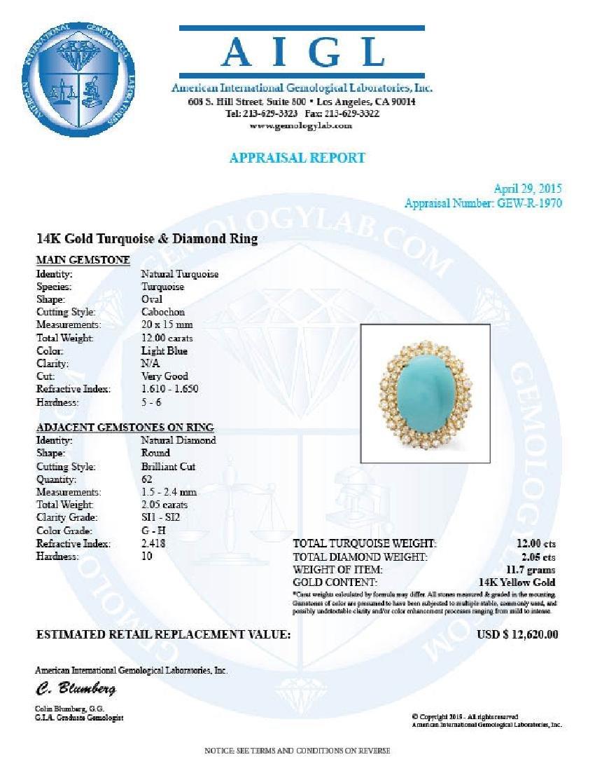 14k Gold 12.00ct Turquoise 2.05ct Diamond Ring - 5