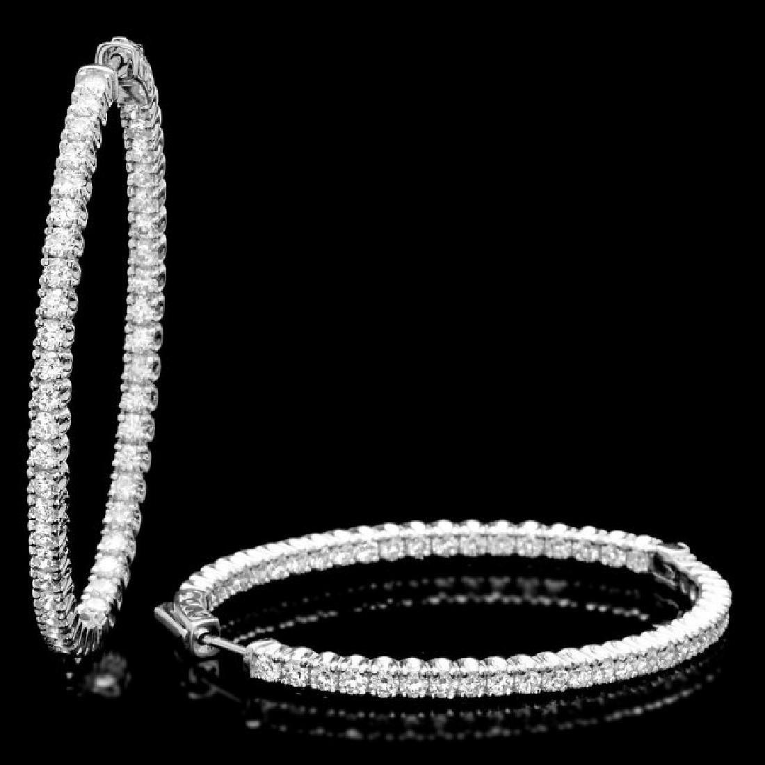 14k White Gold 5.20ct Diamond Earrings - 2