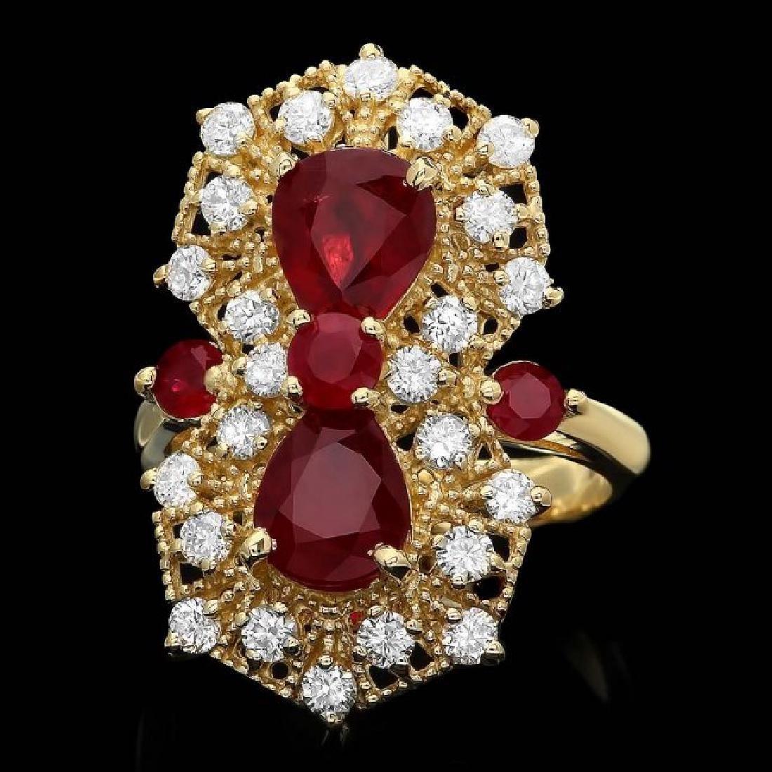 14k Yellow Gold 4.2ct Ruby 1.00ct Diamond Ring
