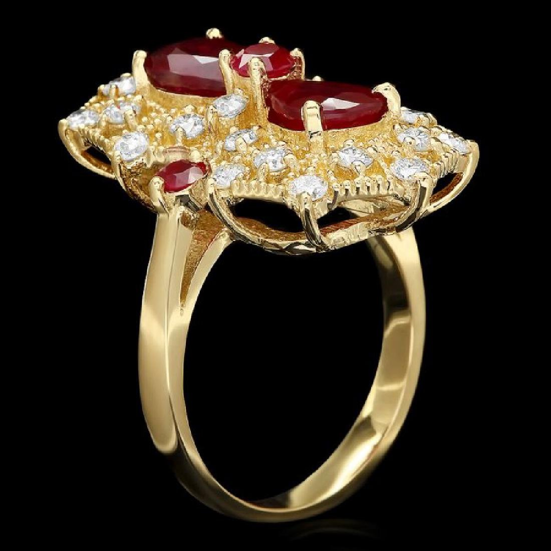 14k Yellow Gold 4.2ct Ruby 1.00ct Diamond Ring - 2