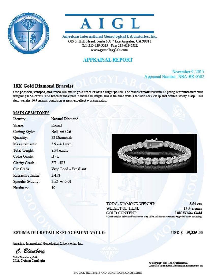 18K Gold 8.54ct Diamond Bracelet - 4