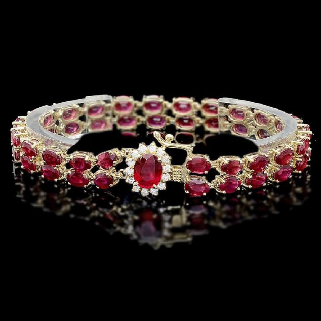 14k Yellow Gold 32ct Ruby 0.60ct Diamond Bracelet