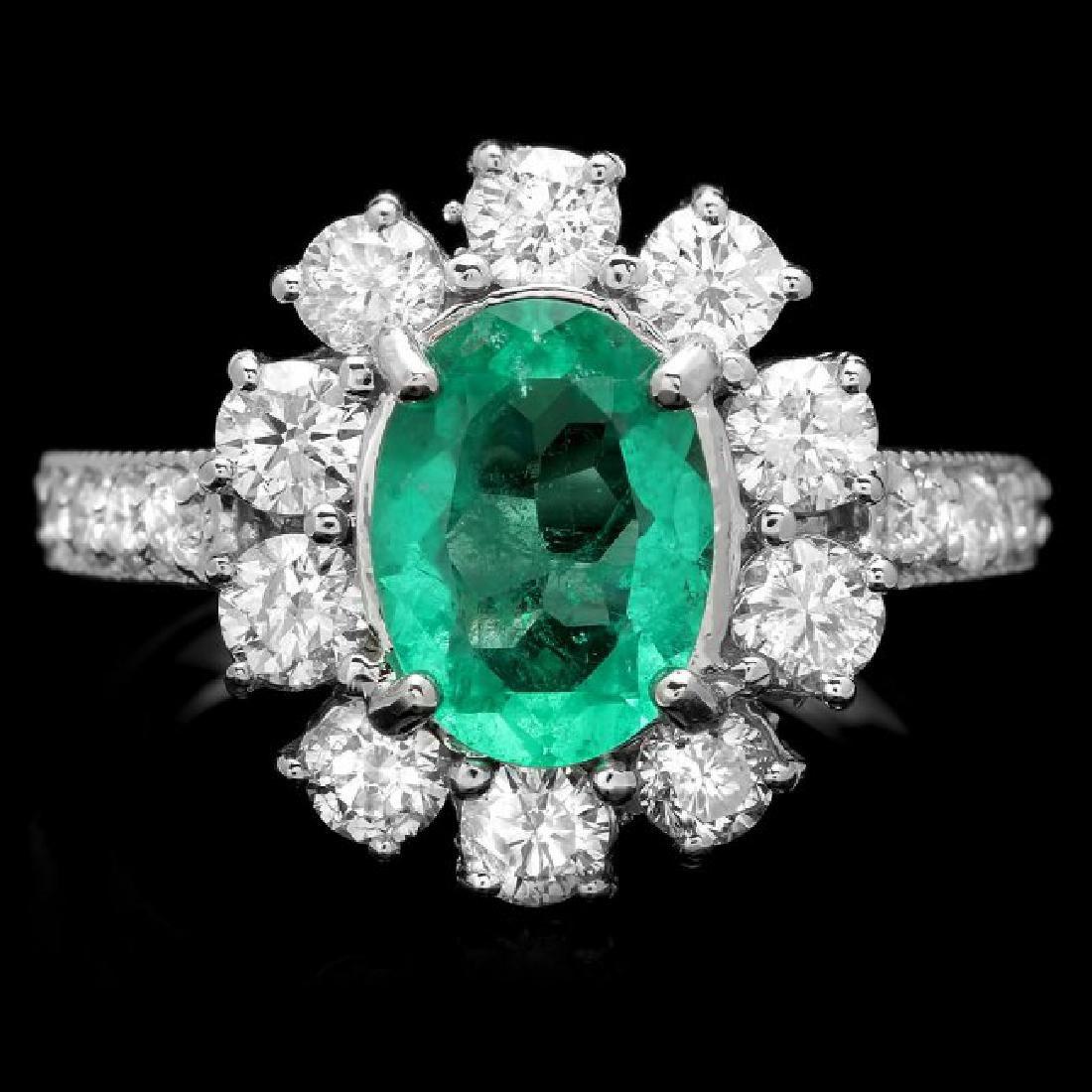 14k White Gold 1.50ct Emerald 1.45ct Diamond Ring