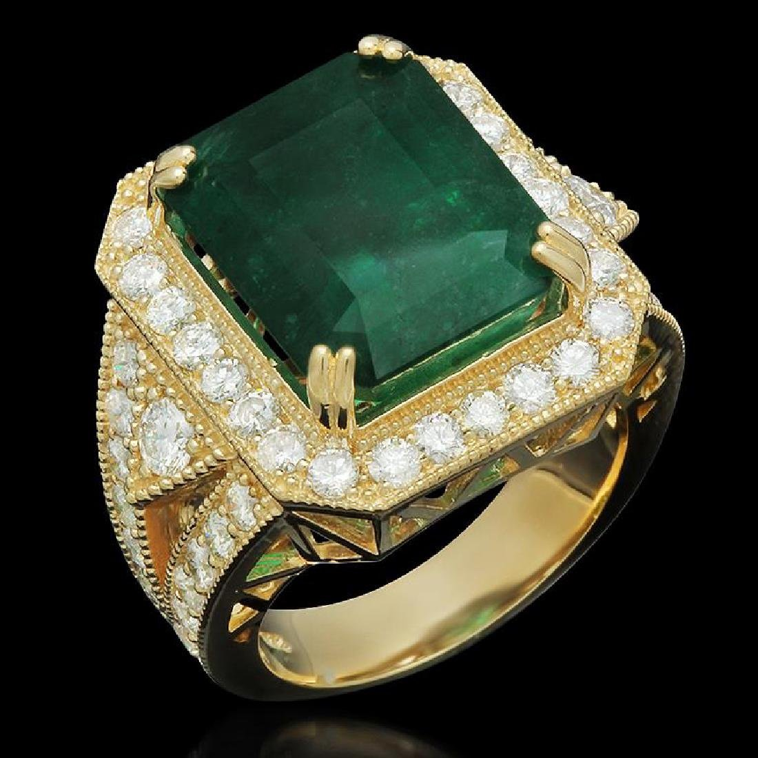 14K Gold 9.94ct Emerald 2.00ct Diamond Ring