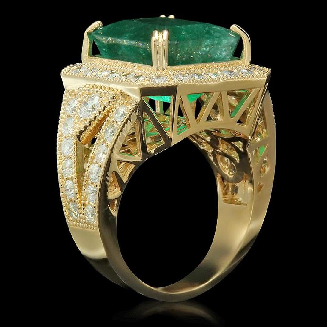 14K Gold 9.94ct Emerald 2.00ct Diamond Ring - 2