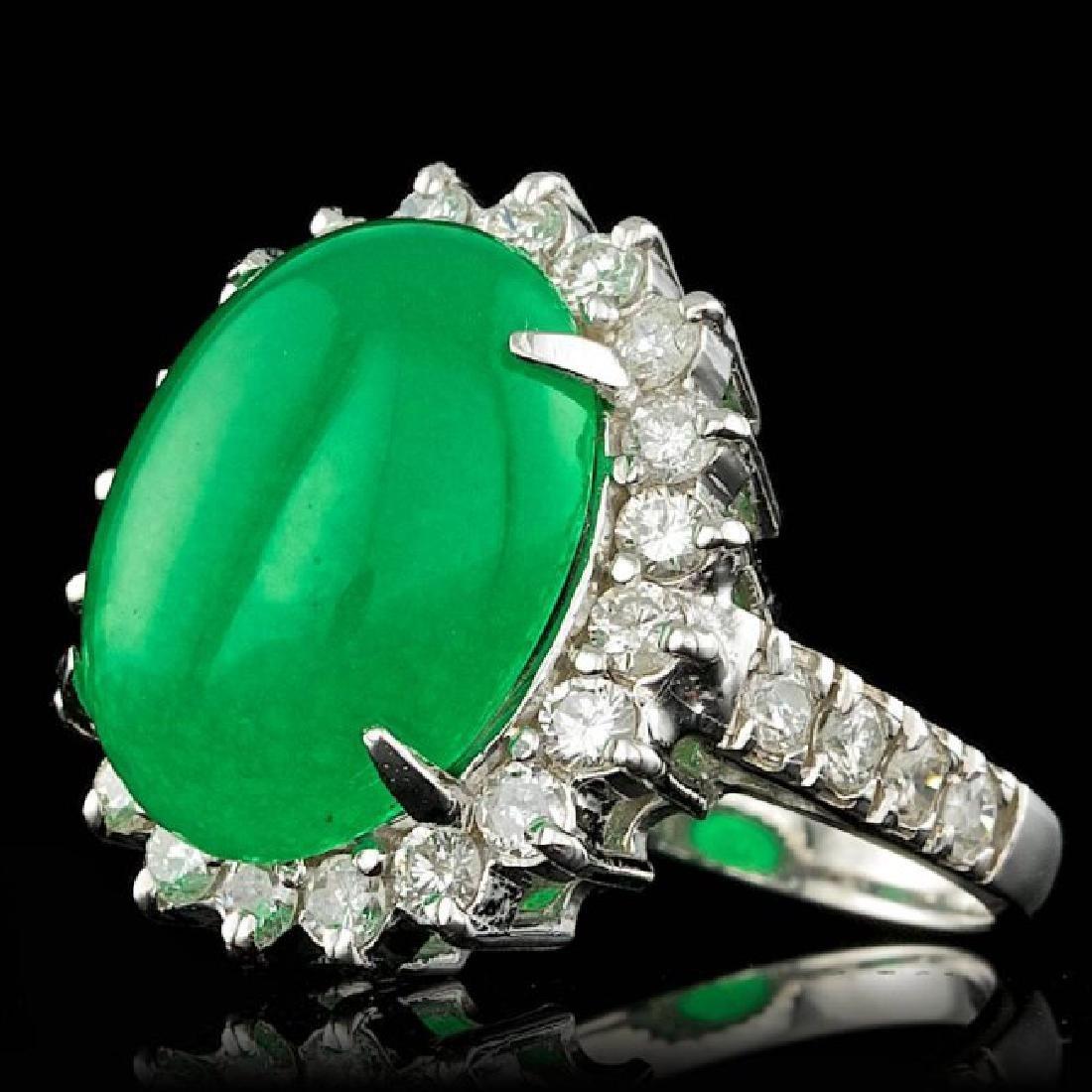 14k White Gold 9.50ct Jade 1.40ct Diamond Ring - 2