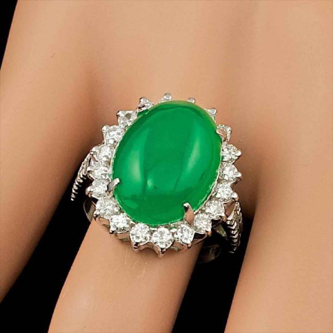 14k White Gold 9.50ct Jade 1.40ct Diamond Ring - 3
