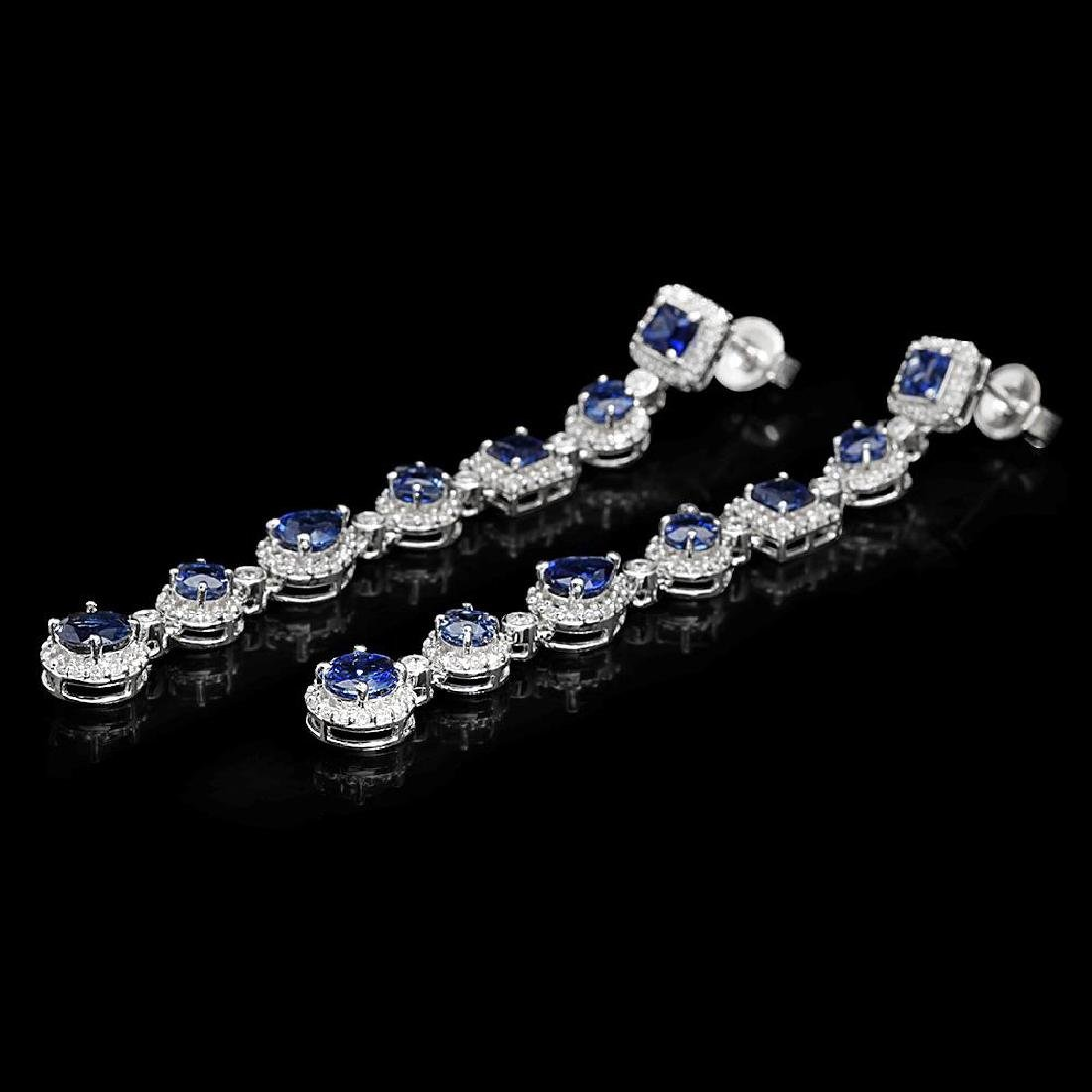 18K Gold 6.39ct Sapphire 2.87ct Diamond Earrings - 2