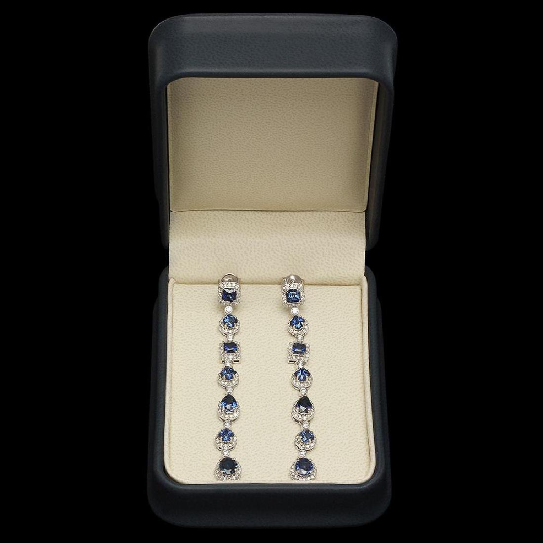 18K Gold 6.39ct Sapphire 2.87ct Diamond Earrings - 3