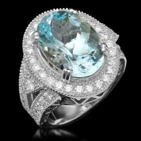 14K Gold 9.35ct Aquamarine & 1.85ct Diamond Ring