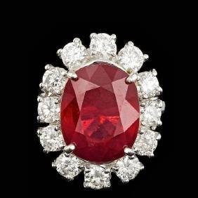 14k White Gold 11.00ct Ruby 2.15ct Diamond Ring