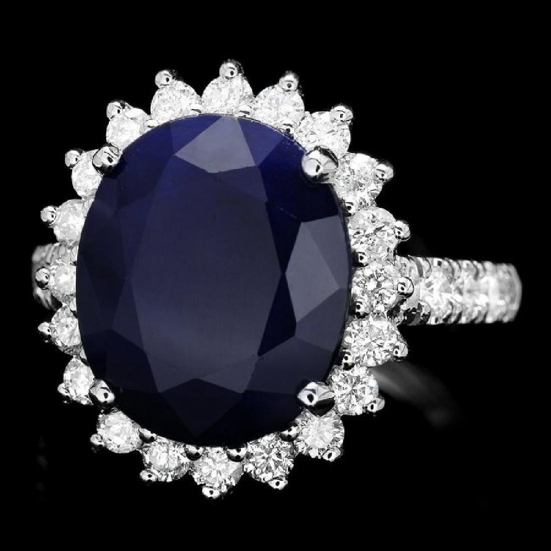 14k Gold 8.00ct Sapphire 1.15ct Diamond Ring