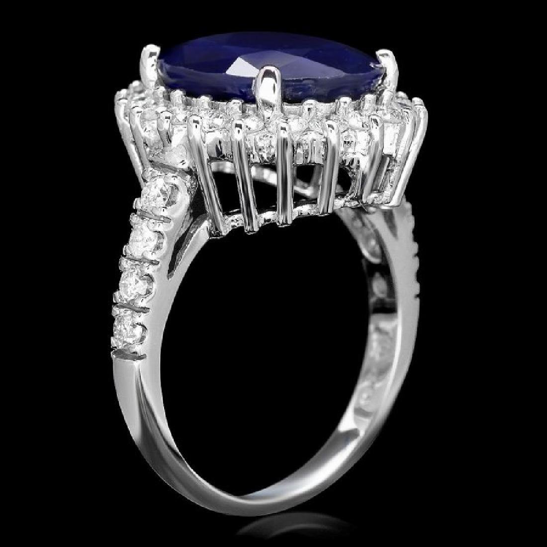 14k Gold 8.00ct Sapphire 1.15ct Diamond Ring - 2