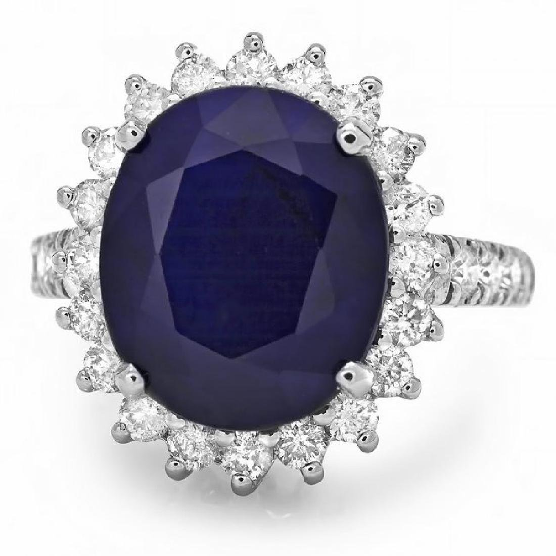 14k Gold 8.00ct Sapphire 1.15ct Diamond Ring - 3