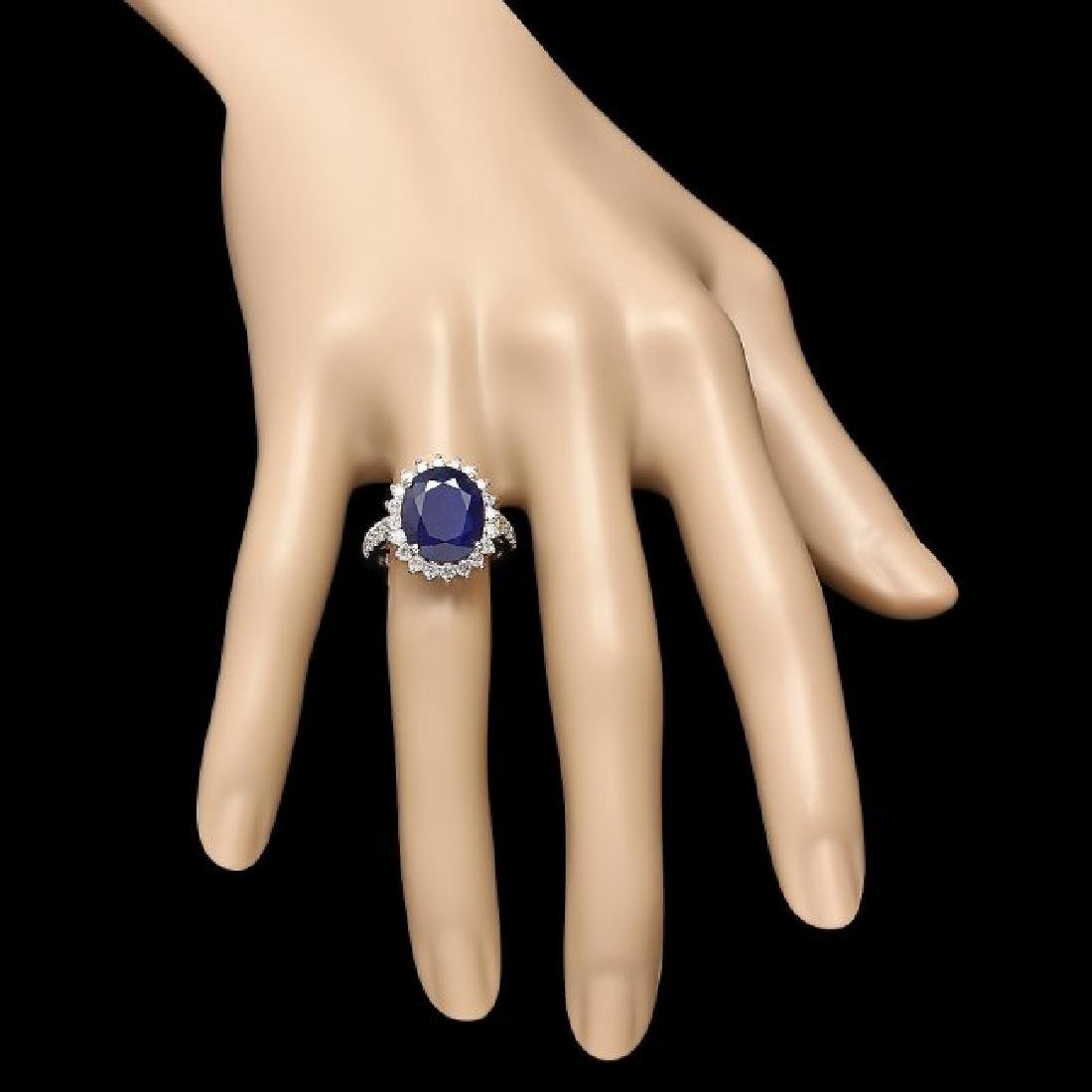 14k Gold 8.00ct Sapphire 1.15ct Diamond Ring - 4
