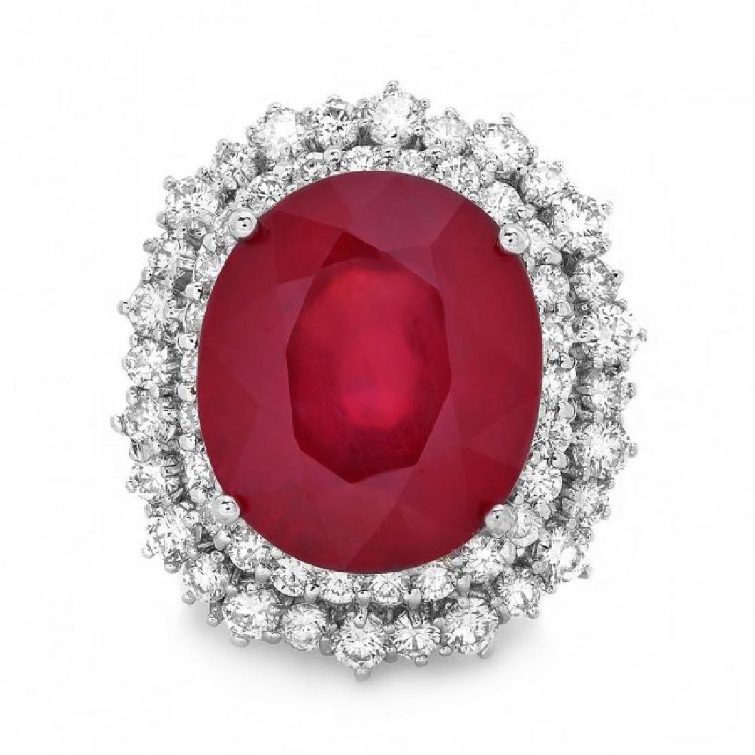 14k White Gold 18.00ct Ruby 2.00ct Diamond Ring - 2