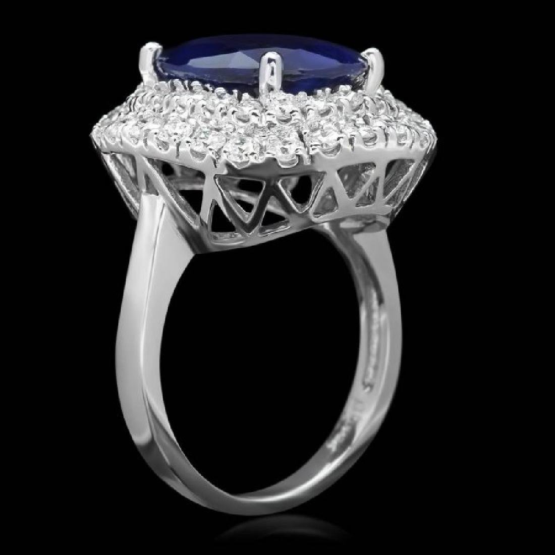 14k Gold 7.00ct Sapphire 1.75ct Diamond Ring - 2