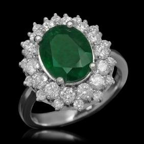 14K Gold 2.08ct Emerald 1.59ct Diamond Ring
