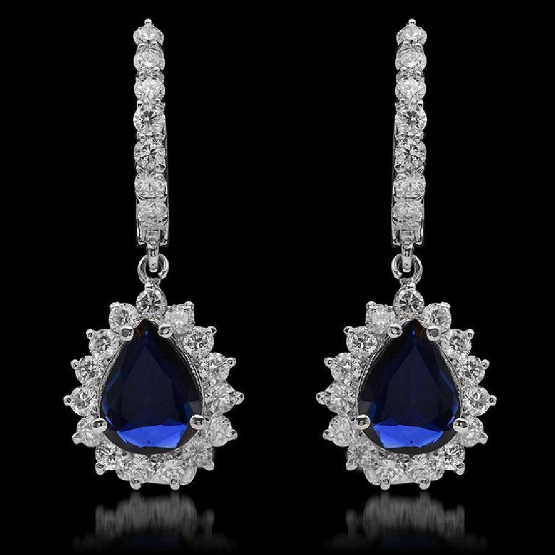 14K Gold 1.81ct Sapphire & 1.68ct Diamond Earrings