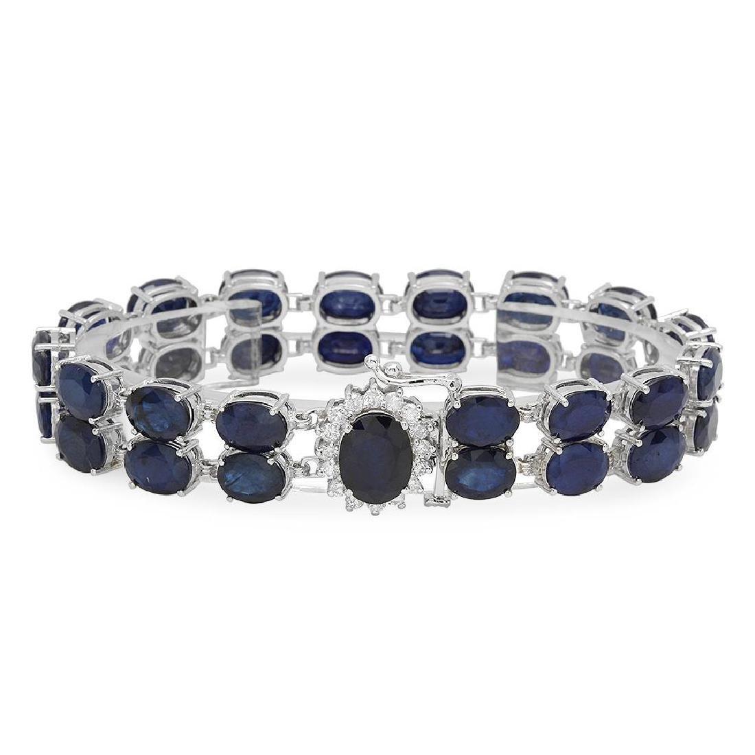 14K Gold 52.06ct Sapphire 0.63ct Diamond Bracelet