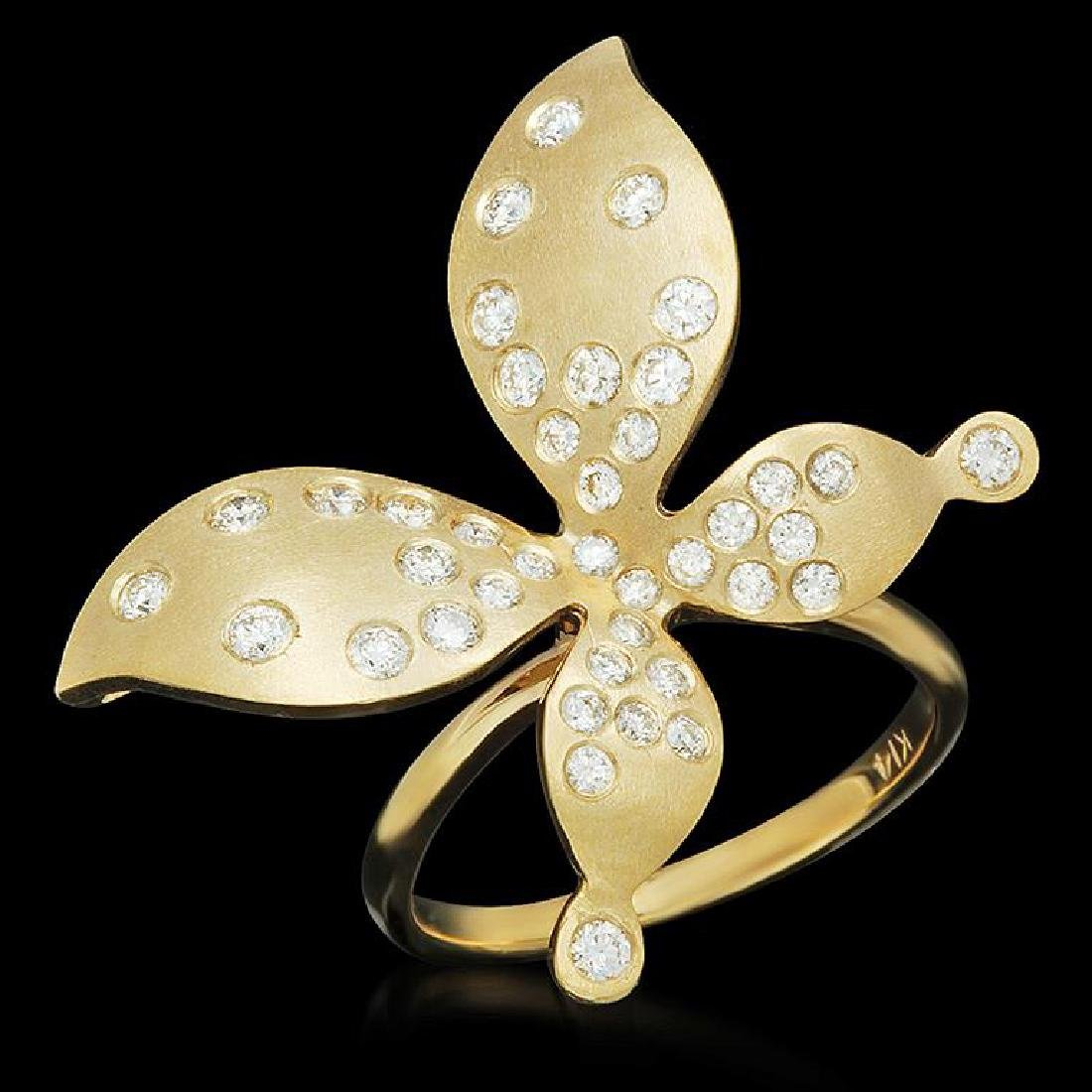 14K Gold 0.78ct Diamond Butterfly Ring