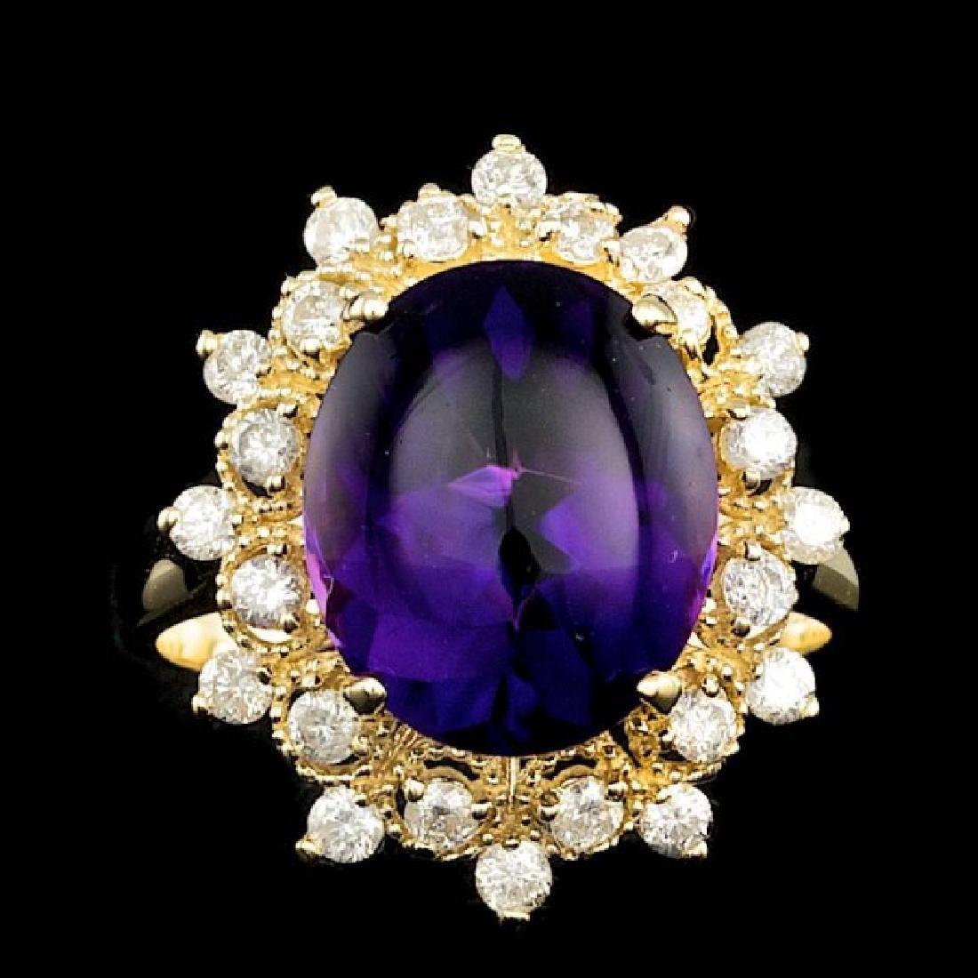 14k Gold 5.00ct Amethyst 0.70ct Diamond Ring