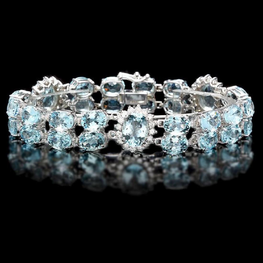 14k Gold 40ct Aquamarine 1.85ct Diamond Bracelet
