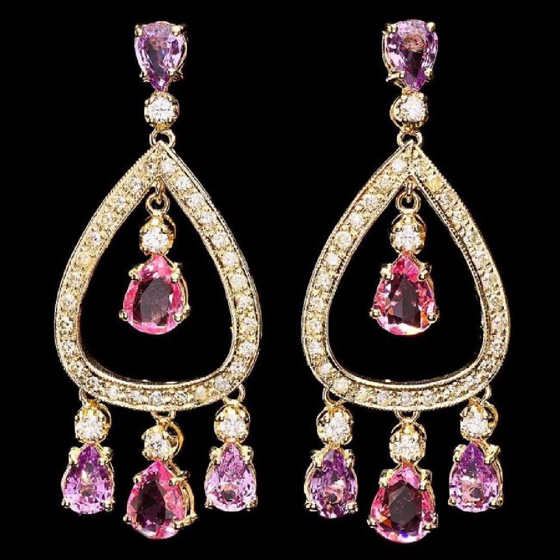 14k Gold 8ct Sapphire 1.70ct Diamond Earrings