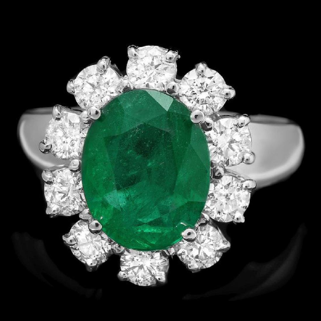 14k White Gold 3.00ct Emerald 1.10ct Diamond Ring