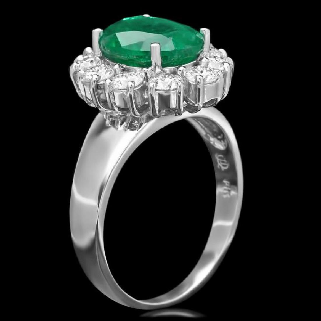 14k White Gold 3.00ct Emerald 1.10ct Diamond Ring - 2