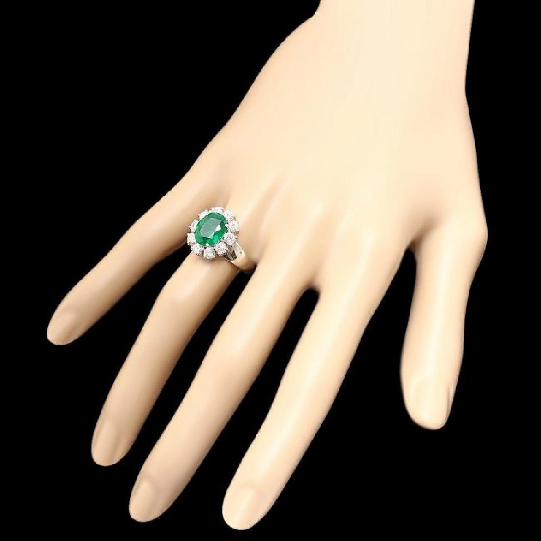14k White Gold 3.00ct Emerald 1.10ct Diamond Ring - 3