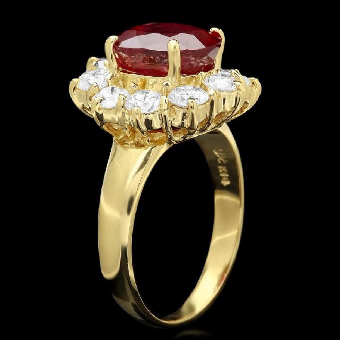 14k Yellow Gold 4.66ct Ruby 1.74ct Diamond Ring - 2