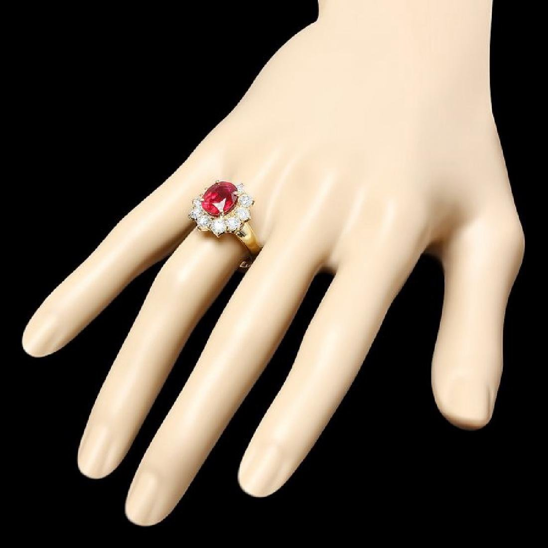 14k Yellow Gold 4.66ct Ruby 1.74ct Diamond Ring - 3