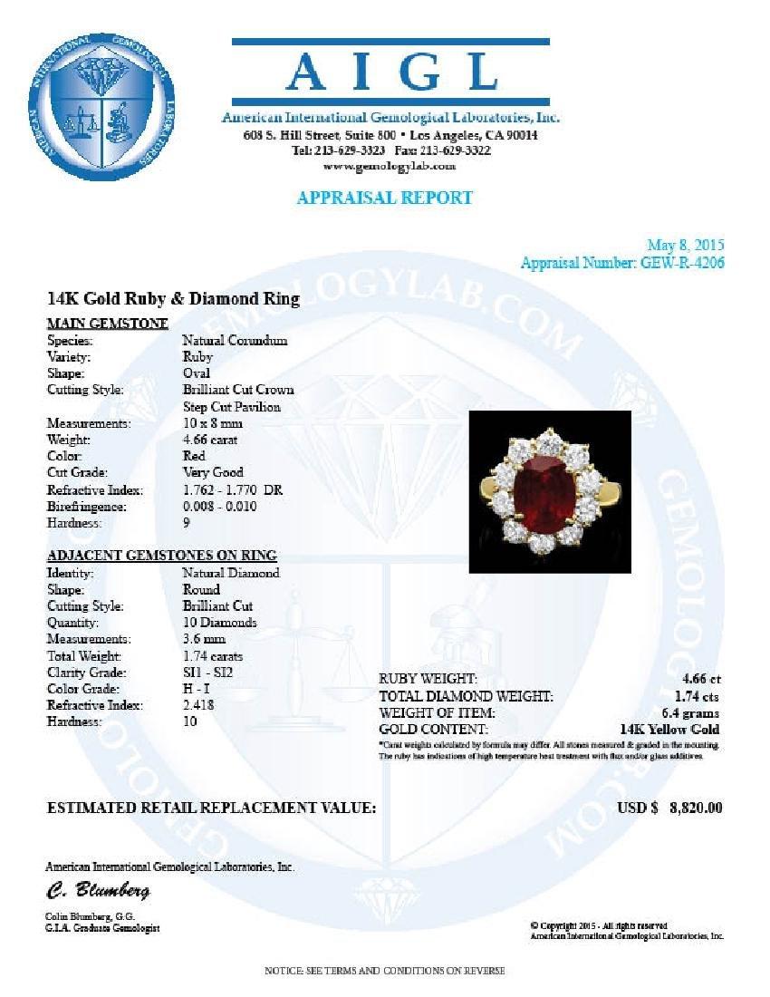 14k Yellow Gold 4.66ct Ruby 1.74ct Diamond Ring - 4