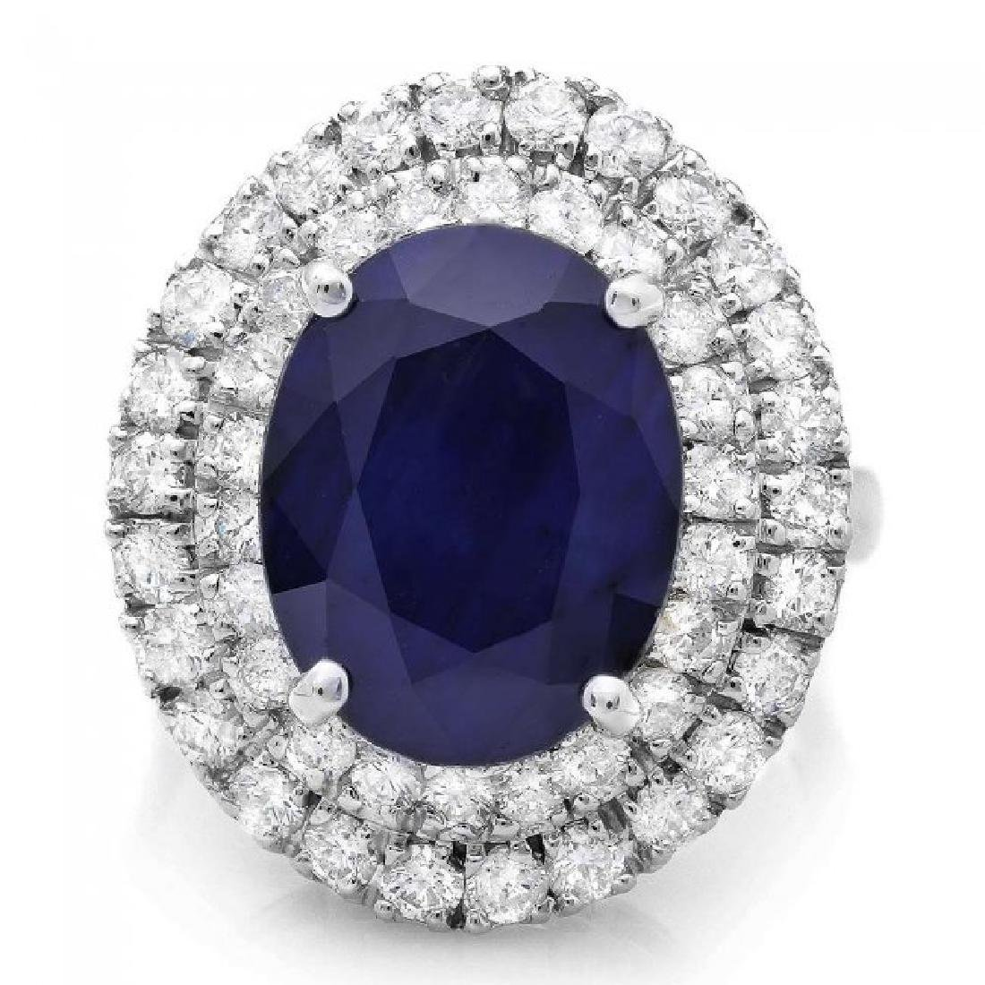 14k Gold 8.00ct Sapphire 1.65ct Diamond Ring - 2