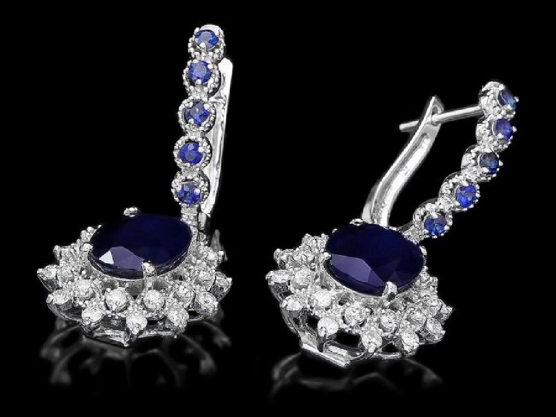 14k Gold 6.4ct Sapphire 1.00ct Diamond Earrings - 2