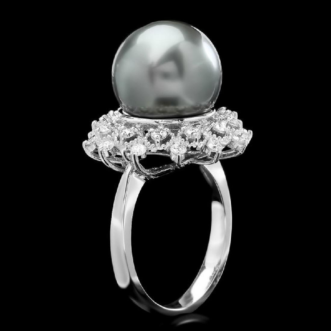 14k White Gold 12.5mm Pearl 0.60ct Diamond Ring - 2