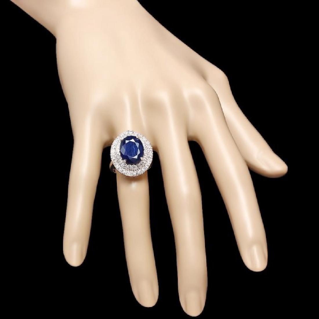 14k Gold 8.00ct Sapphire 1.65ct Diamond Ring - 4