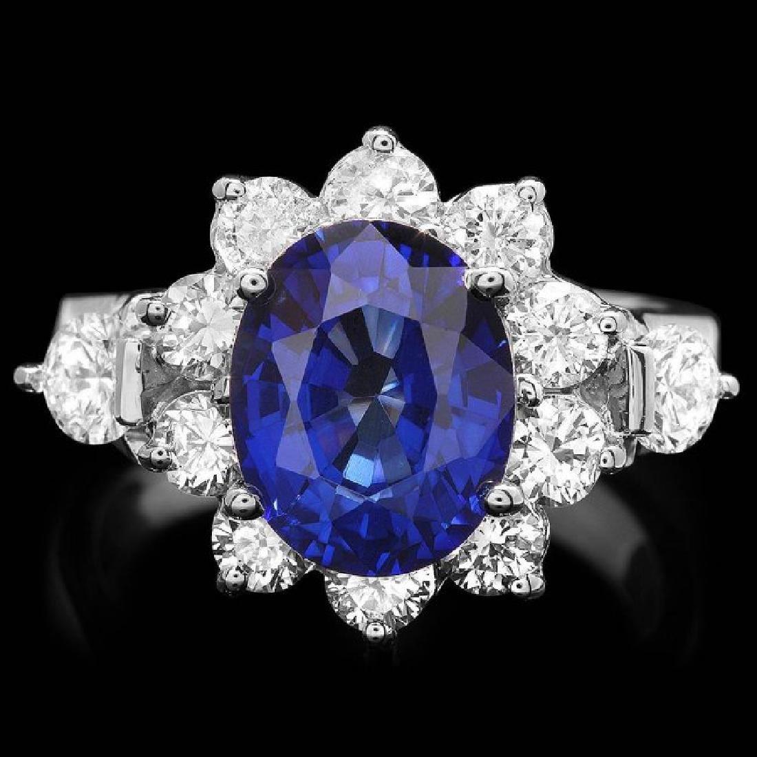 14k Gold 4.00ct Sapphire 1.55ct Diamond Ring