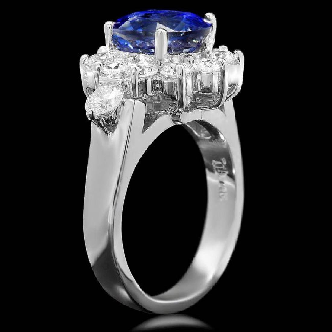14k Gold 4.00ct Sapphire 1.55ct Diamond Ring - 2