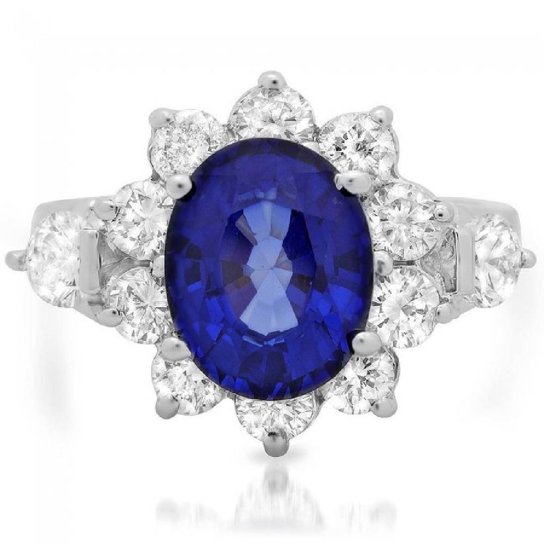 14k Gold 4.00ct Sapphire 1.55ct Diamond Ring - 3