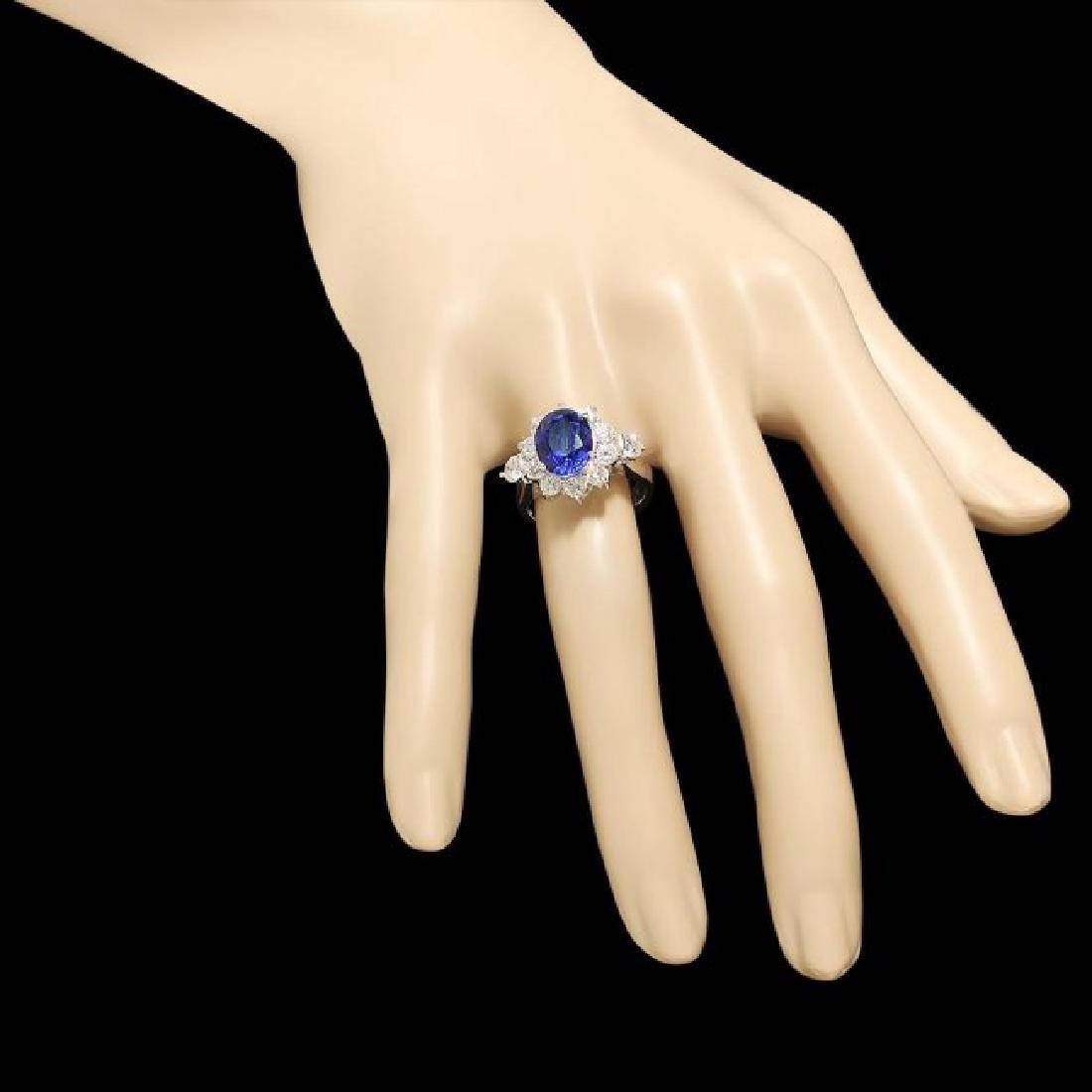 14k Gold 4.00ct Sapphire 1.55ct Diamond Ring - 4
