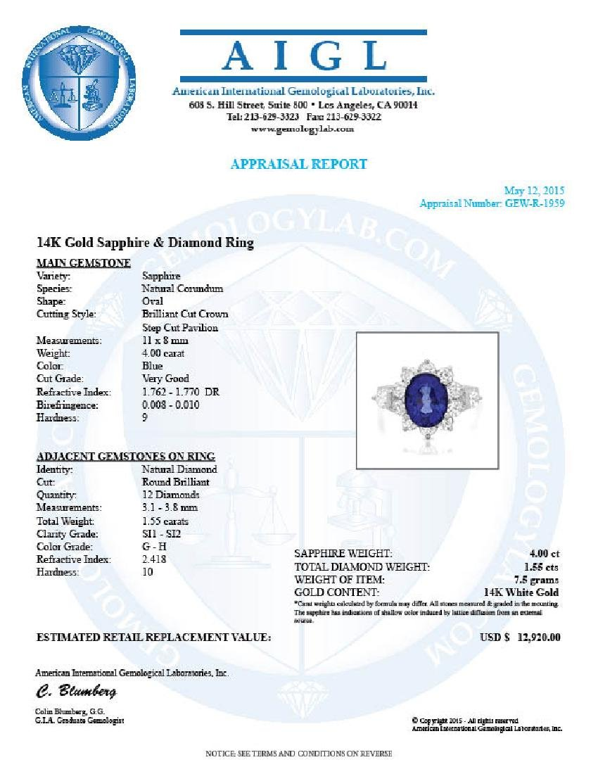 14k Gold 4.00ct Sapphire 1.55ct Diamond Ring - 5