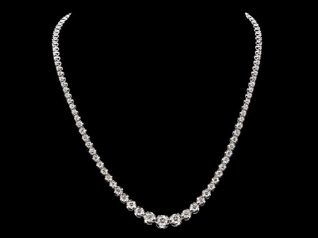 18k White Gold 9.20ct Diamond Necklace - 3