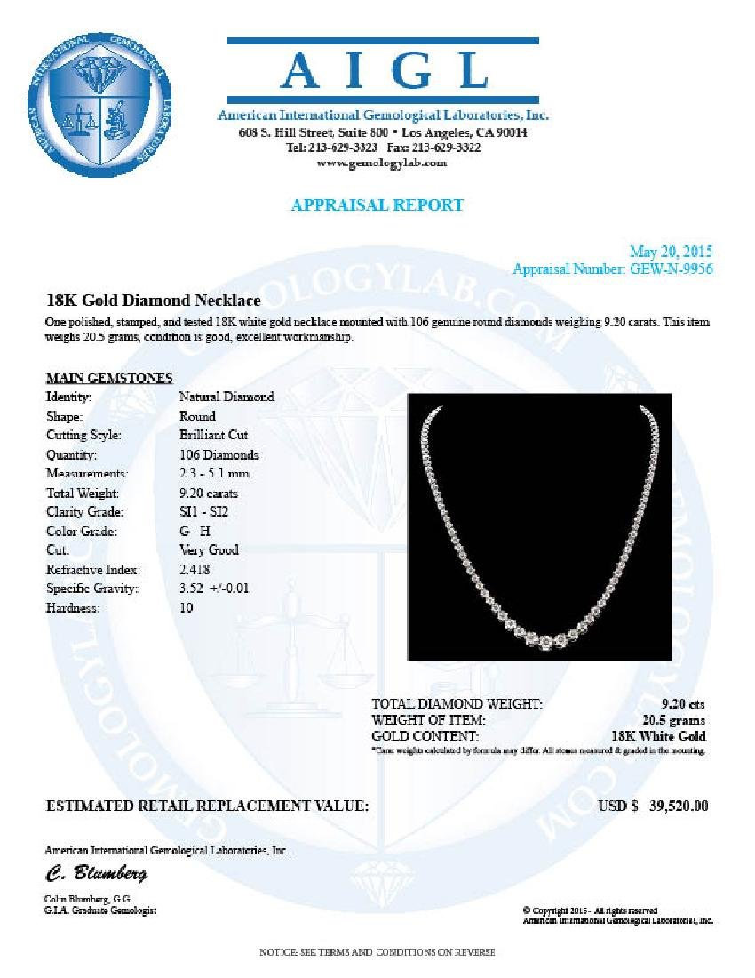 18k White Gold 9.20ct Diamond Necklace - 7