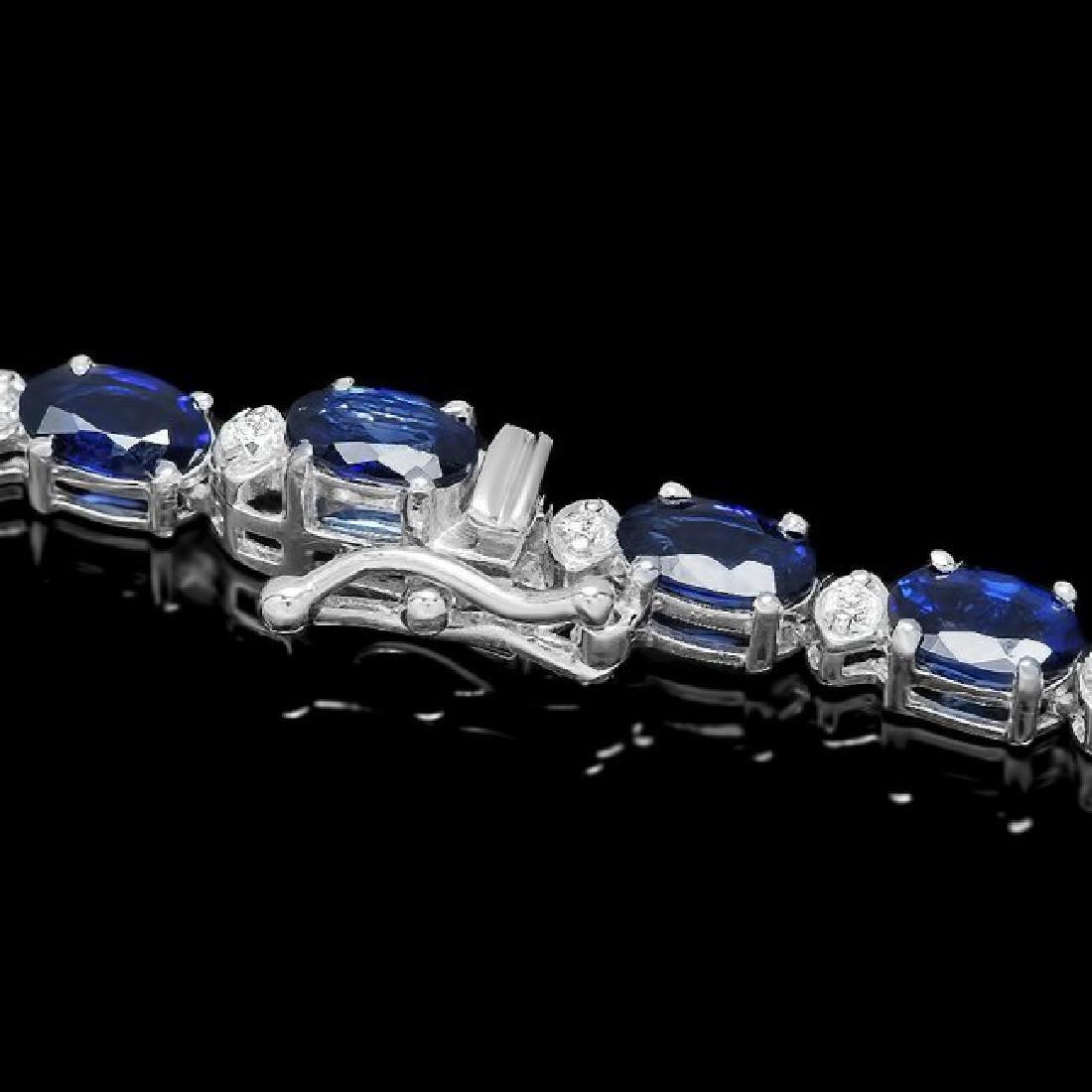 14k Gold 28ct Sapphire 3.35ct Diamond Necklace - 3