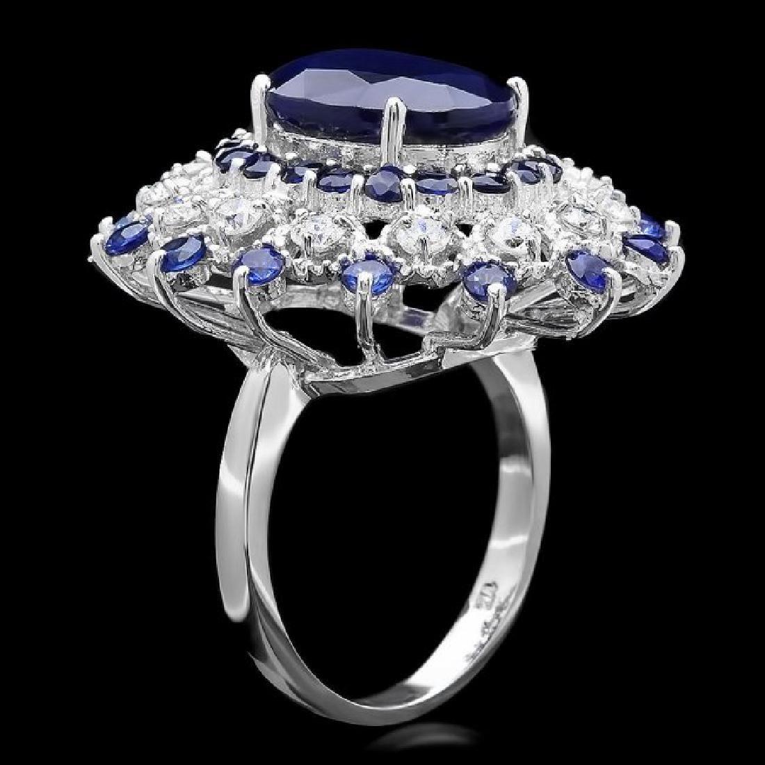 14k White Gold 9ct Sapphire 0.90ct Diamond Ring - 2